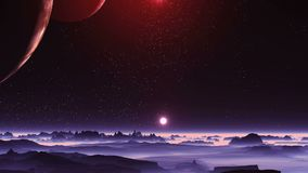 Two moons and two suns over alien planet. Two huge moon illuminated by red light of the distant sun. Second sun hangs over the misty horizon. In the dark sky stock video
