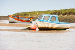 Two moored fishing boats, north norfolk England Royalty Free Stock Image
