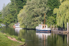 Two moored motor yachts Stock Image