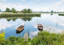 Two moored rowing boats Royalty Free Stock Photo