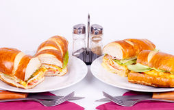 Two morning meals. With set for dining Stock Photos