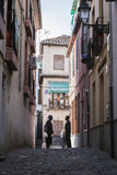 Two Moroccans speaking at the end of street in the Albaicín, Gr Stock Image