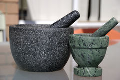 Two mortars side by side Royalty Free Stock Photography