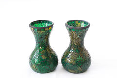 Two mosaic green vases Royalty Free Stock Image