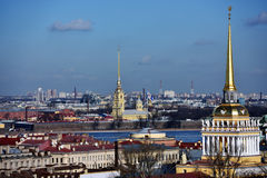 Two most famous spires of St. Petersburg, Russia Royalty Free Stock Image