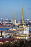 Two most famous spires of St. Petersburg, Russia Stock Photos