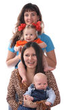 Two mothers with babies. Isolated Royalty Free Stock Images