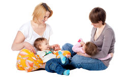 Two mothers with children Royalty Free Stock Image