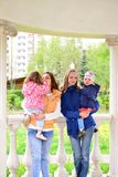 Two mothers with children on the walk in  gazebo Stock Image