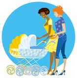 Two mothers enjoy newborns. Two mothers caucasian and afroamerican chatting vector illustration