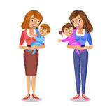 Two mothers holding her babies, smiling parents and kids. Concept happy family, family love, mothers day. Vector illustration stock illustration