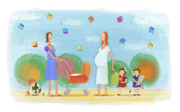 Two Mothers At The Park Royalty Free Stock Photography