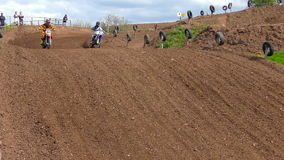 Two Motocross riders during a race stock video