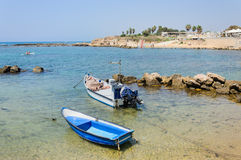 Two motor boats in the sea, Caesarea, Israel, 2015 Stock Photo