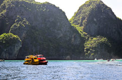 Two motor boats in tropical sea Stock Images
