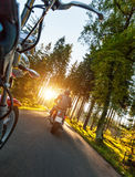 Two motorbikers riding on empty road. In forest with sunrise light, concept of speed and travel in nature Stock Photography