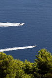 Two motorboats against a blue sea and trees Royalty Free Stock Images