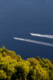 Two motorboats against a blue sea and trees Stock Image