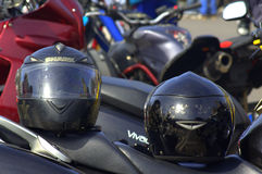 Two motorcycle helmets Royalty Free Stock Photography