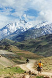 Two motorcycle tourist in india mountains Royalty Free Stock Photos