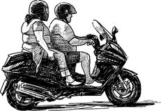 Two on motorcycle Royalty Free Stock Photo