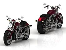 Two motorcycles with a chrome engine and exhaust Stock Image