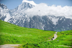 Two motorcycles riding the Zagar Pass in Caucasus Mountains Royalty Free Stock Image