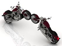Two motorcycles standing wheel to wheel Stock Photos