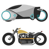 Two motorcycles  on white, modern, futuristic motobike and old retro motorcycle Royalty Free Stock Image
