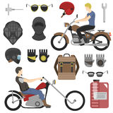Two motorcyclist with accessories set. helmets, backpack and motor oil. tools, sunglasses, mask and gloves. Royalty Free Stock Images