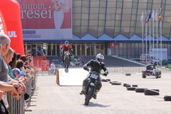 Two motorcyclists on track. Two motorcyclists from Free Riders on track at the Iubim 2 roti (We love two wheels) event in Romania, at Romexpo. At this event it Royalty Free Stock Image