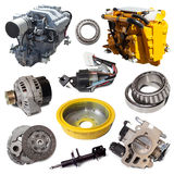 Two motors and  automotive parts. Isolated over white Stock Photo