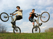 Two Mountain Bikers Royalty Free Stock Images