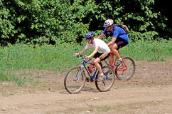 Two Mountain Bikers Royalty Free Stock Photos
