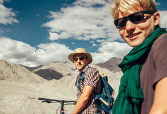Two mountain bikers portrait on Himalaya view Stock Image