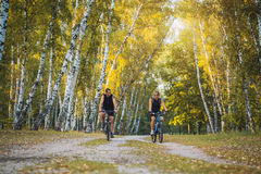 Two mountain bikers riding bike in the forest Stock Photo