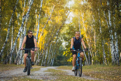 Two mountain bikers riding bike in the forest Royalty Free Stock Photos