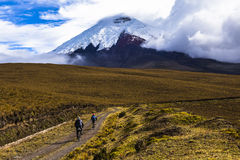 Two mountain bikers riding in the Cotopaxi National Park Stock Photos