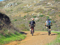Two Mountain Bikers on a Trail Royalty Free Stock Photo