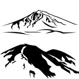 Two mountains. Silhouette of the mountain, can be changed color, for logos, icons, etc Royalty Free Stock Images