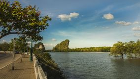 Two mountains in the water Is the landmark of southern thailand. Two mountains in the water Is the landmark of Krabi Town Thailand royalty free stock photos