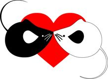 Two mouses. Are kissed on background heart Stock Photo
