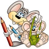 Two Mouses Painters Stock Images