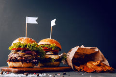 Two mouth-watering, delicious homemade burger Royalty Free Stock Image