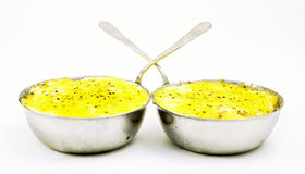 Two mouthwatering julienne. On a white background Royalty Free Stock Images