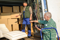 Two mover load van with furniture boxes Stock Images