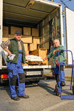 Two mover load van with furniture boxes Stock Photo