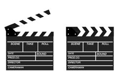 Two movie clappers open and close isolated on white background. Shown slate board.Realistic movie clapperboard. Clapper board isolated with clipping path Stock Image