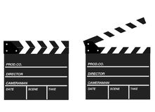 Two movie clappers open and close isolated on white background. Shown slate board.Realistic movie clapperboard. Clapper board isolated with clipping path Royalty Free Stock Images