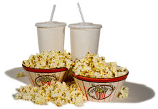 Two for the Movies. Two bowls of popcorn and drinks now all you need is the movie Stock Images